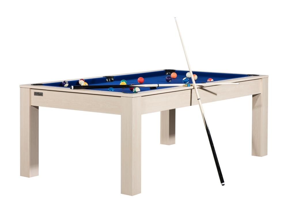 billard brooklyn convertible en table manger couleur htre avec tapis bleu